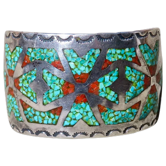 Vintage Turquoise and Coral Inlay Cuff
