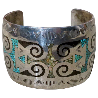 Vintage Native American Inlaid Turquoise Cuff