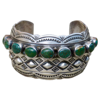 Vintage Native American Signed Turquoise Cuff
