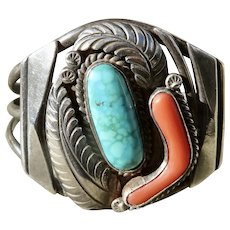 Vintage Native American Turquoise and Coral Cuff