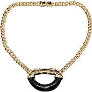 Vintage Leopard Choker Chain Necklace Signed JC 1980-s