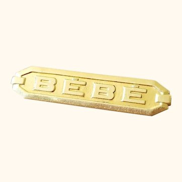 Authentic Bébé doll brooch, pin. Gold gilded.
