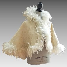 Outstanding Original Antique Edwardian Soutache and Pearl Opera Cape With Ostrich Feather Trim