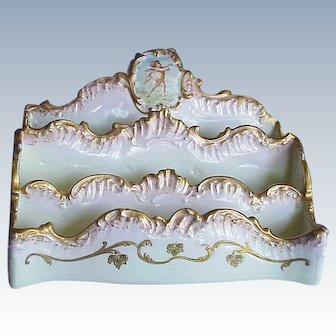 Antique French Victorian Limoges Cherub Hand Painted & Gilded Porcelain Letter Holder Desk Organizer