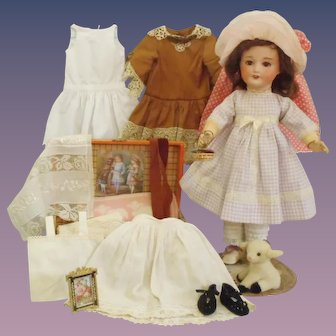 """Antique SFBJ Jumeau French Bisque Doll With Trousseau & Trunk: Working """"Mama"""" Voice"""
