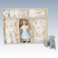 Rare Antique Bisque Mignonette Doll & Trousseau Presentation Box by Simon Halbig