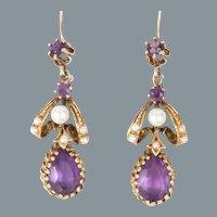 Amethyst & Pearl 14k Yellow Gold Victorian Earrings