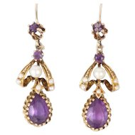 Amethyst & Pearl 14k Yellow Gold Victorian Earrings