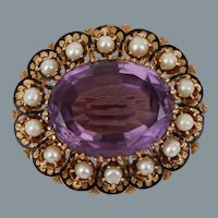 Antique Victorian Amethyst Pearl Enameled 14k Yellow Gold Victorian Pendant Brooch