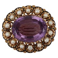 Outstanding Antique Victorian Amethyst Pearl Enameled 14k Yellow Gold Victorian Pendant Brooch