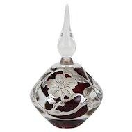 Vandermark Crystal Thick .999 Fine Sterling Silver Overlay Ruby Perfume Bottle Signed Vandermark
