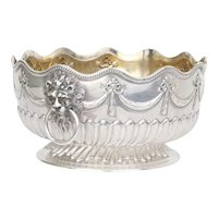 Antique Victorian Repousse Sterling Silver Monteith - Punch Bowl Centerpiece Sibray, Hall & Co. British Sterling Large Bowl