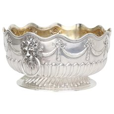 Antique Victorian Repousse Sterling Silver Centerpiece Sibray, Hall & Co. British Sterling Large Bowl