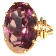Exceptional 14k Yellow Gold Synthetic Alexandrite Ring Large Color Changing Corundum Ring
