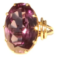 14k Yellow Gold Large Color Changing Corundum Ring Synthetic Alexandrite Ring