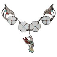 Native American Necklace D & V Dewa Inlaid Hummingbird Sterling Silver Necklace with Matching Ring & Earring Set
