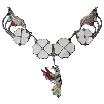 D & V Dewa Inlaid Hummingbird Sterling Silver Necklace with Matching Ring & Earring Set