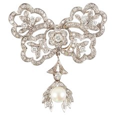 Belle Epoque Gold, Diamond, & Pearl Pendant Brooch-Pin Exquisite 14k White Gold Vintage Pendant