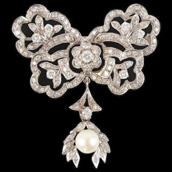 Belle Epoque Gold, Diamond, & Pearl Pendant Brooch-Pin Exquisite 14k White Gold Vintage Pendant