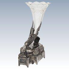 Art Deco Silver Plate & Brilliant Cut Glass Rare Wilcox Silver Plate Flower Vase
