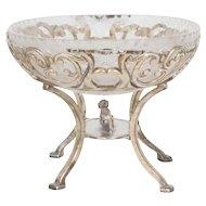 Art Deco Silver Plate & Cut Glass Meriden Britannia Company Compote