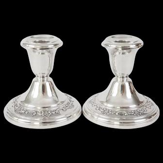 """Gorham """"Strasbourg"""" Sterling Silver Candlesticks Candleholders 1129"""