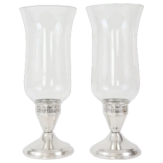 Sterling Silver Candlesticks Hurricane Lamps Candleholders by Dunchin Creations