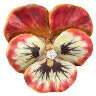 Outstanding Antique Art Nouveau 14K Enamel Diamond Large Pansy Flower Pendant-Brooch