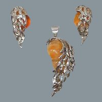 Artisan Opal & Sterling Silver Earrings & Pendant Set Mexican Sterling Silver