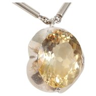 Antonio Pineda Silver Necklace/Citrine Pendant Tony Pineda Taxco Mexican 970 Silver