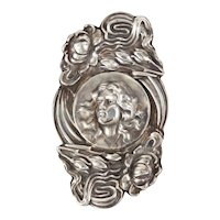 Unger Brothers Large Sterling Silver Art Nouveau Authentic Antique Brooch/Pin