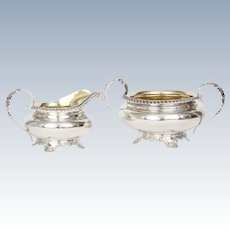 Antique Georgian Sterling Silver Sugar & Creamer Set 18th Century English Silver