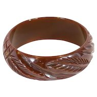 Deeply Carved Bakelite Bracelet Chocolate Brown Bakelite Bracelet