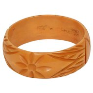 Deeply Carved Bakelite Bracelet Butterscotch Yellow Bakelite Bracelet