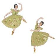 Ceramic Arts Studio Arabesque & Attitude Ballerina Dancers Vintage Wall Figurines. Mid Century