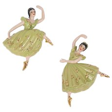 Ceramic Arts Studio Arabesque & Attitude Ballerina Dancers Vintage Wall Figurines. Mid Century