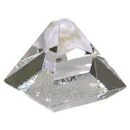 Hoya Crystal Pyramid Paperweight Vintage Crystal Paperweight
