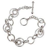 Sterling Silver Interlocking Textured Circles Bracelet