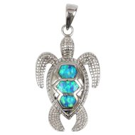 Sterling Silver Opal Inlay Turtle Pendant Detailed Sea Turtle Pedant