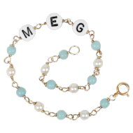 14k Yellow Gold Pearl & Turquoise Bracelet