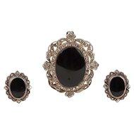 Sterling Silver Onyx & Marcasite Earring Pendant/Brooch-Pin Set Demi Parure