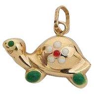 18K Gold & Enamel Turtle Charm - Pendant
