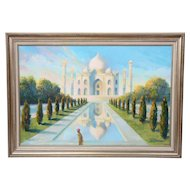 "Jean Franz Miller ""Early Light at the Taj"" Original Signed Oil on Canvas Bucks County Artist"