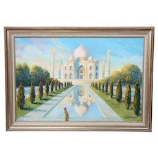 "Jean Franz Miller ""Early Light at the Taj"" Original Signed Oil on Canvas Bucks County Artist"