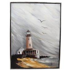 Sensational Large Clarke Oil on Canvas of Light House
