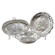 Rare Wallace Sterling Silver Poppy Pattern Serving Set, Includes Bowl, Tray, & Bread Tray, Circa 1930's