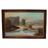 Great Antique Hudson River School Oil on Canvas Painting Hudson Valley Painting
