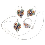 Sterling Silver Plique-a-Jour Necklace, Earring, Ring Set