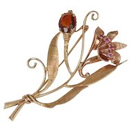 14k Rose & Yellow Gold, Ruby & Garnet Brooch