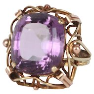 Art Nouveau Amethyst Ring in 14k Gold Fine Estate Jewelry